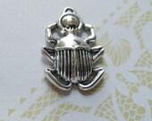 Scarab Charm Scarab Pendant Egyptian Pendant Egypt Pendant Silver Scarab Charm Ancient Egypt Beetle Charm Insect Charm