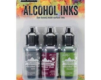 Alcohol Ink Cottage Path Green Purple Grey Watercolor Ink Tim Holtz Inks Adirondack Ink 3 pack PREORDER