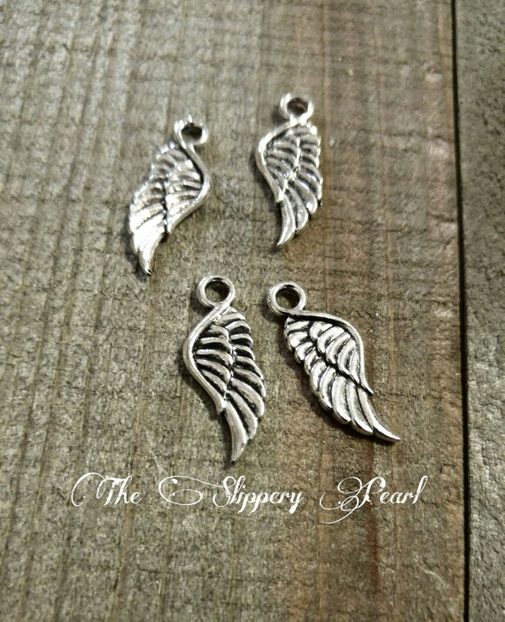 5 Angel Wing Connectors Charms Pendants Antiqued Silver Links 2 Holes