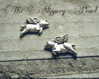 Flying Pig Charms Pig Charms Antiqued Silver Pig-25pcs When Pigs Fly Fairy Tale Charms
