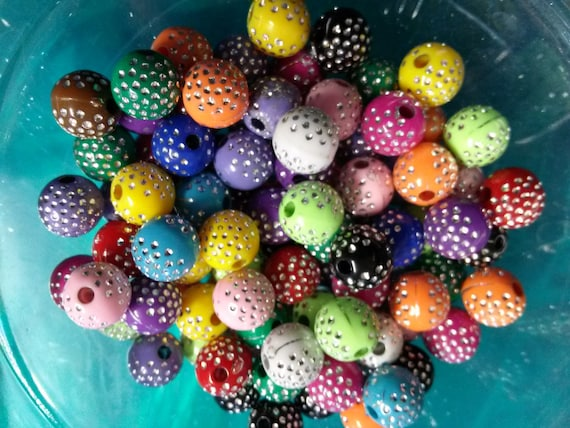 50 Flower Beads Assorted Colors 10mm Acrylic Beads Wholesale Bulk