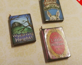 """Miniature Book Charms Wood Charms Classic Book Charms Set of 3 1"""" Library Charms Librarian Charms PREORDER"""