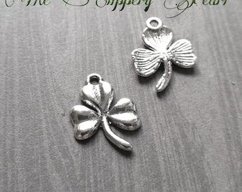 Shamrock Charms Clover Charms Antiqued Silver Good Luck Charms 10pcs
