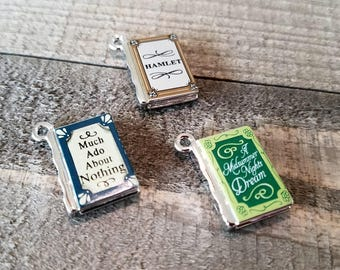 Miniature Book Charms Metal Charms Book Pendants Tiny Book Charms Miniature Books Classic Books Library Charms Librarian Charms Set of 3