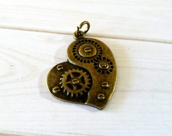 "Steampunk Pendant Heart Pendant Gear Pendant Steampunk Charm Steampunk Heart Gear Heart Charm Antiqued Bronze Steampunk Gears Brass Ox 1"" PR"