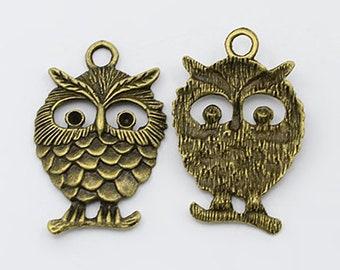 Large Owl Pendant Antiqued Bronze Owl Charm Bronze Owl Pendant Bronze Pendant 35mm Large Focal Pendant