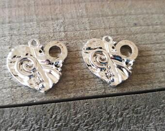 Heart Charms Silver Heart Charms Steampunk Heart Mechanical Heart Pendants Silver Hearts 2pcs