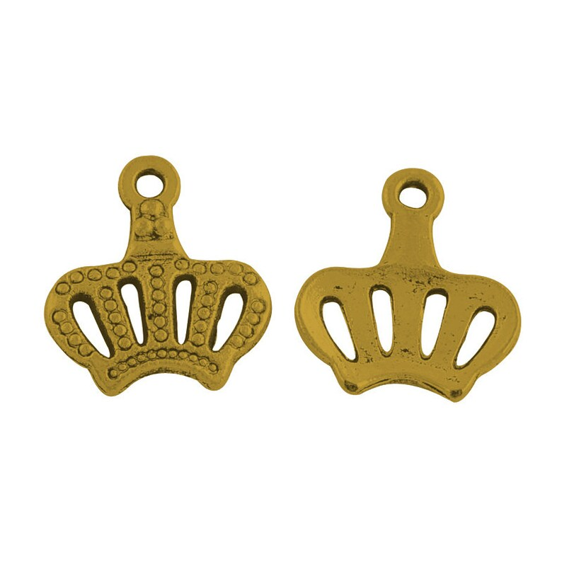6 Crown charms antique bronze tone BC105