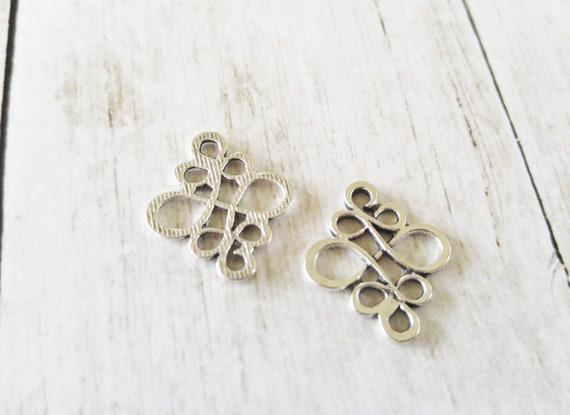 4 Chandelier Earring Findings Silver Connector Pendants Chandelier Findings
