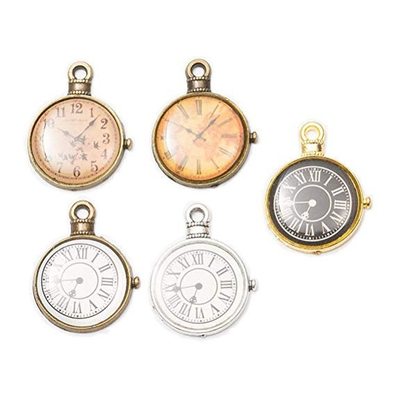 4 Clock Charms Antiqued Silver Steampunk Charms Clock Pendants