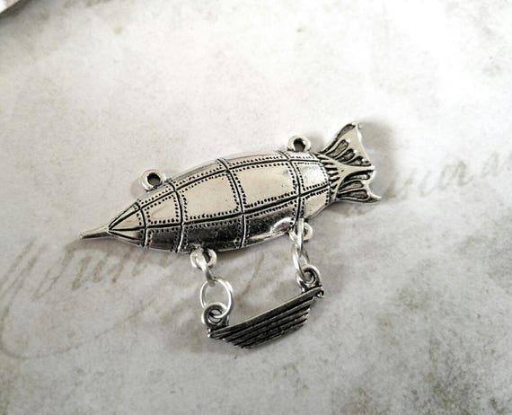 Steampunk Pendant Antiqued Silver Submarine Charm Blimp Charm Airship