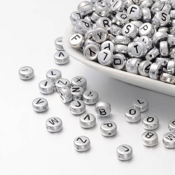 Silver Alphabet Beads: Letter Beads Alphabet Beads Silver Letter Beads Silver