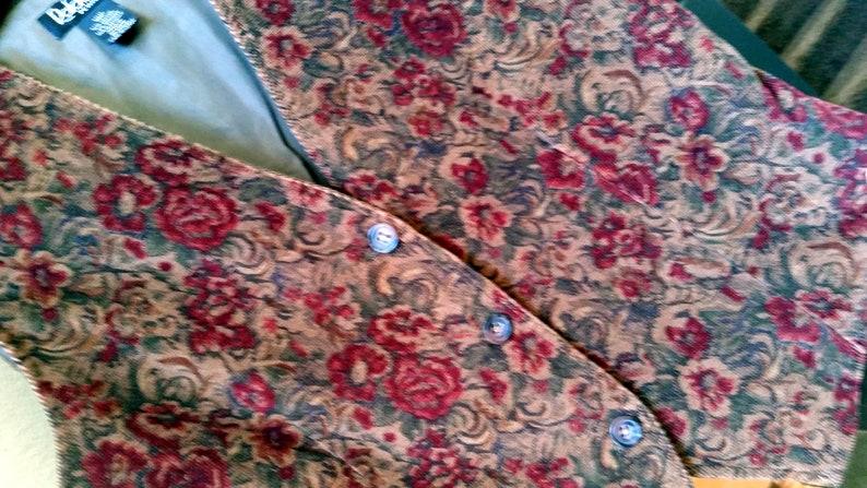 Fall wardrobe flower print skinny wale corduroy women/'s size 10P Corduroy VEST