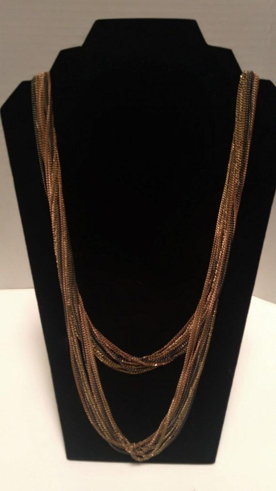 Multi-strand, multi-metal chain link Necklace, Lo… - image 6