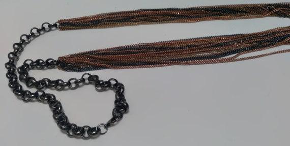 Multi-strand, multi-metal chain link Necklace, Lo… - image 10