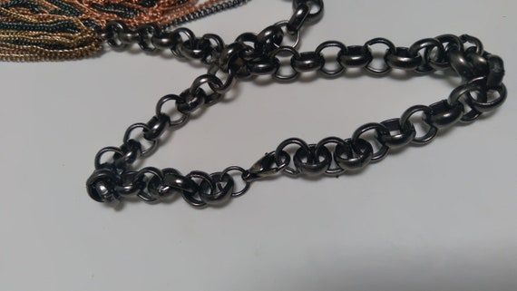 Multi-strand, multi-metal chain link Necklace, Lo… - image 5