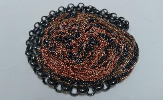 Multi-strand, multi-metal chain link Necklace, Lo… - image 1
