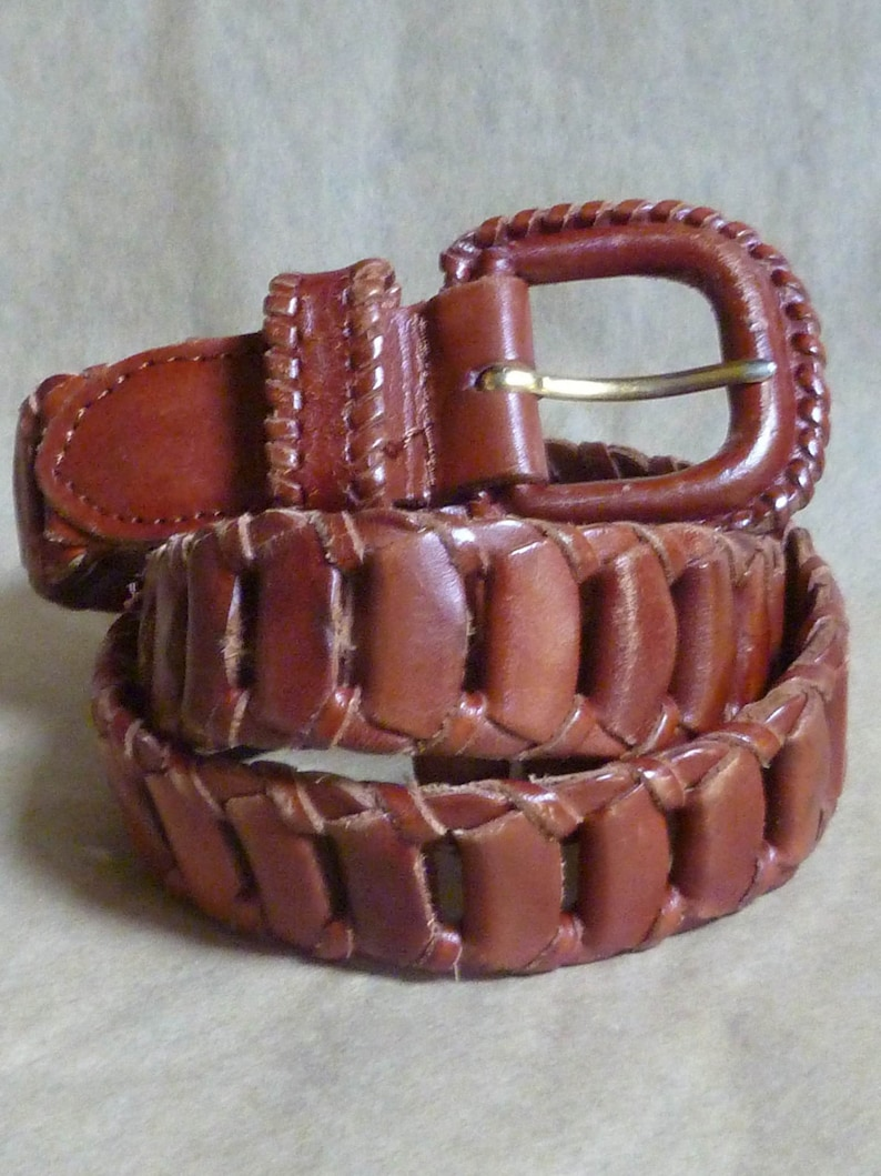 Brown Leather Link BELT size Small