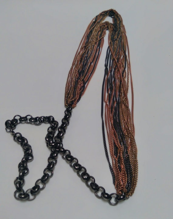 Multi-strand, multi-metal chain link Necklace, Lo… - image 2