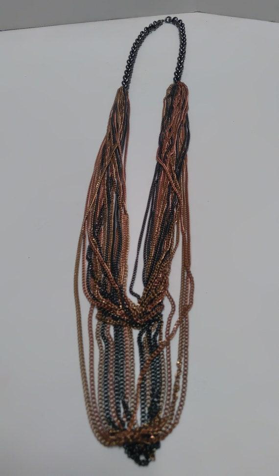 Multi-strand, multi-metal chain link Necklace, Lo… - image 3