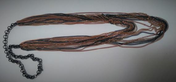 Multi-strand, multi-metal chain link Necklace, Lo… - image 9