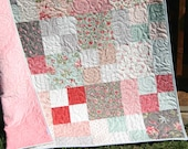 Quilts for Sale, Handmade Blanket, Home Decor, Minky Throw, Gifts for Her, Floral Pink , Modern Flowers Contemporary, Homemade Farmhouse