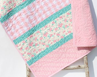 Baby Quilt, Plaid Floral Minky Blanket, Farmhouse Flower Crib Bedding, Vintage Chic Floral, Pink Teal Green, Handmade Modern Quilt Gift