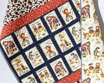 Ranch Rodeo Quilt, Western Baby Blanket, Homemade Personalized Crib Bedding, Retro Cowboy Nursery Theme, Monogram Name Boy Decor Bandana