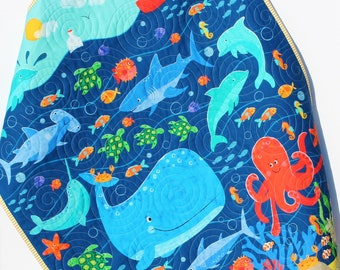 Ocean Baby Quilt, Nautical Crib Blanket, Nursery Decor, Gender Neutral, Boys or Girls, Personalized Baby Gift, Whale Fish Octopus Navy Blue