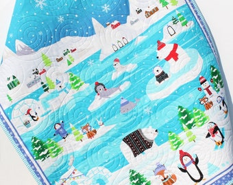 Polar Baby Quilt, Winter Baby Blanket, Arctic Animals, Polar Bear Seal Fox, Whale Penguin, Handmade, Aqua Blue Gray Green, Boy or Girl Gift
