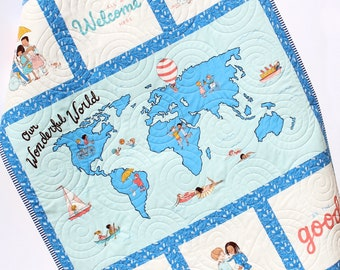Baby Quilt Our Wonderful World Blanket Bedding Gender Neutral Newborn Monogram Gift Personalize Named Initials Map Ethnicities Cultures