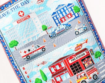 First Responders Handmade Baby Quilt Fire Truck Baby Blanket Police Nursery Bedding Rescue Ambulance Helicopter Safety Hero Boy or Girl
