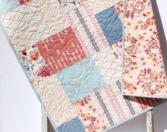 Farmhouse Baby Quilt, Flower Minky Blanket, Modern Floral Crib Bedding Mauve Roses Blue Gold Girls Handmade Modern Quilt Personalize Name