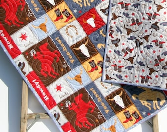Western Quilt, Handmade Baby Quilt, Crib Bedding, Bucking Horse, Gender Neutral, Cow Skull, Roping, Cowboy Boots, Toddler Blanket, Boy
