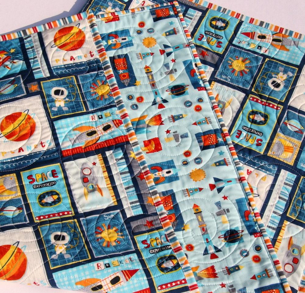 outer space quilt solar system crib bedding science. Black Bedroom Furniture Sets. Home Design Ideas