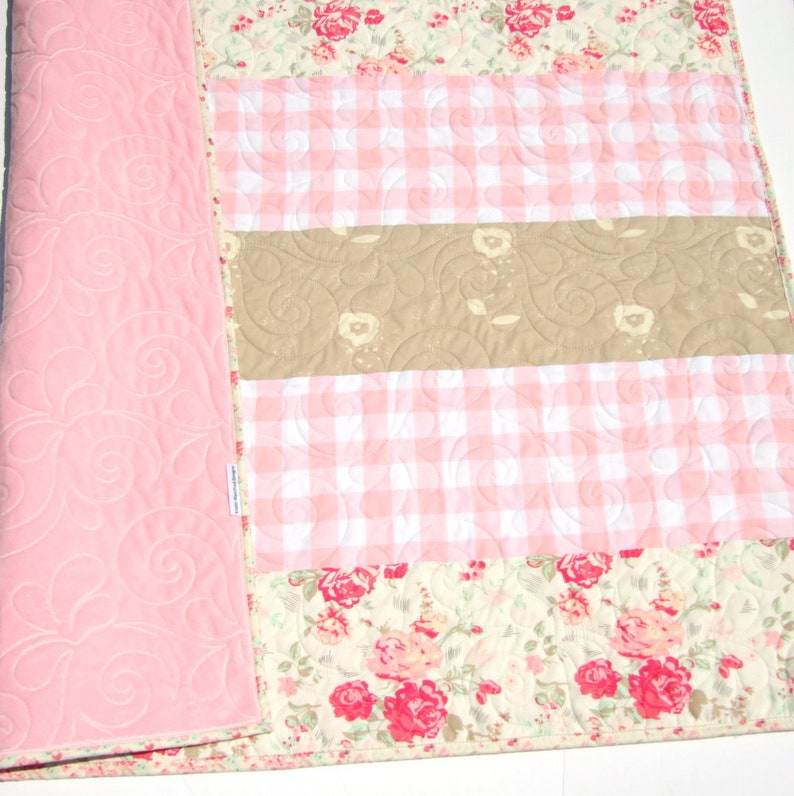 Farmhouse Plaid Vintage Chic Roses Coral Pink Grey Gray Flower Crib Bedding Handmade Modern Quilt Gift Baby Quilt Floral Minky Blanket