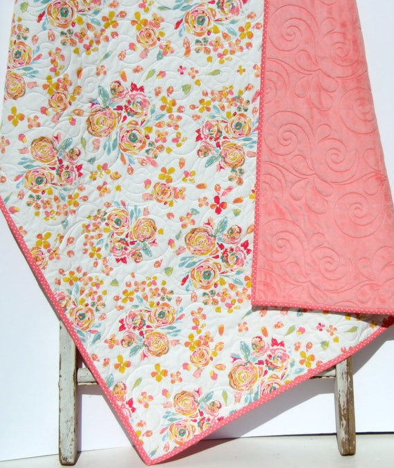 modern baby quilt baby girl butterflies Baby girl quilt boho baby quilt crib quilt floral nursery floral baby quilt crib blanket