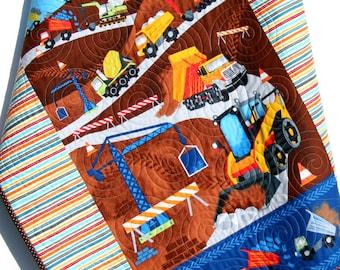Construction Quilt, Boy Baby Blanket, Truck Nursery Bedding, Newborn Baby Shower Gifts for Him, Vehicles Crane Dump Truck Tractor, Handmade