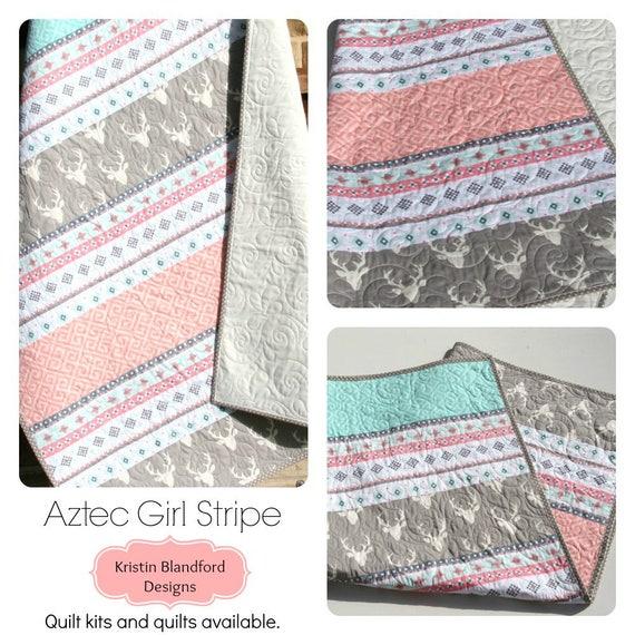 Custom Baby blanket Patchwork quilt assorted prints buck deer antlers Mint peach coral Grey wminky backing nursery bedding Boy Girl Unisex