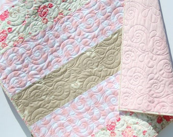 Baby Quilt, Floral Minky Blanket, Farmhouse Plaid, Flower Crib Bedding, Vintage Chic Roses, Coral Pink Grey Gray, Handmade Modern Quilt Gift
