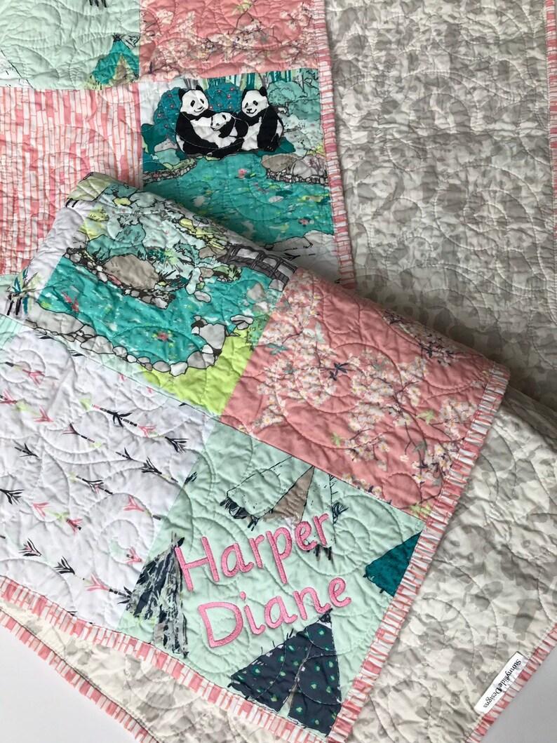 Personalisierte Baby Quilt Panda Mädchen Kinderbett Bettwäsche Etsy