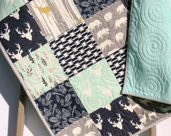 Baby Blanket, Woodland Baby Quilt, Blanket, Deer Head Baby Quilt, Children, Toddler, Navy Blue, Mint Baby Quilt, Minky, Bear, Crib Bedding