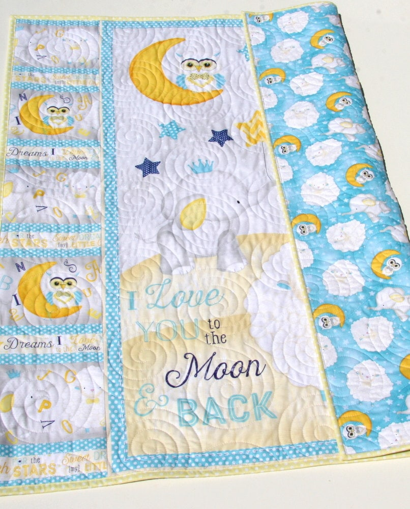 Baby Quilt Moon and Back I Love You To The Moon And Back Girl Quilt Boy Quilt Elephant Baby Quilt Crib Bedding Gender Neutral Baby Quilt