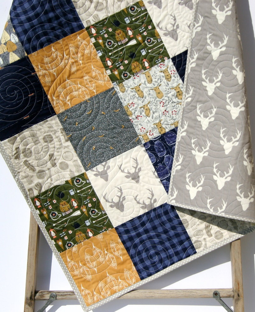 Plaid Blanket, Buffalo Plaid, Navy Blue, Rustic Decor, Crib Bedding Deer, Antler Baby Quilt, Stag Nursery Decor Woodland Boy Crib Gold Green