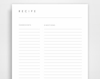 picture regarding Printable Recipe Pages identified as Recipe webpages Etsy
