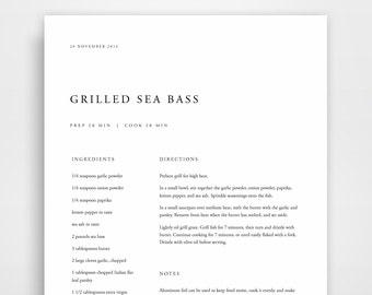 Cookbook Binder Recipe Printable Book Cook Template Kit Personalized Blank