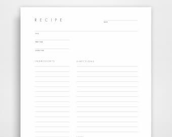 Blank Recipe Book, Blank Recipe Cards, Blank Recipe Binder, Recipe Pages, Recipe Planner, Recipe Printable, Recipe Print, Recipe Journal