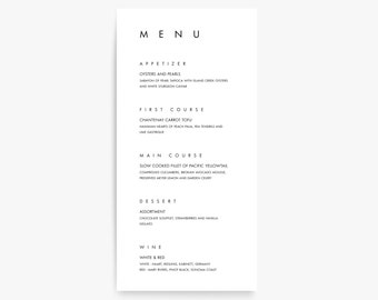 wedding menu template printable menu menu cards menu etsy