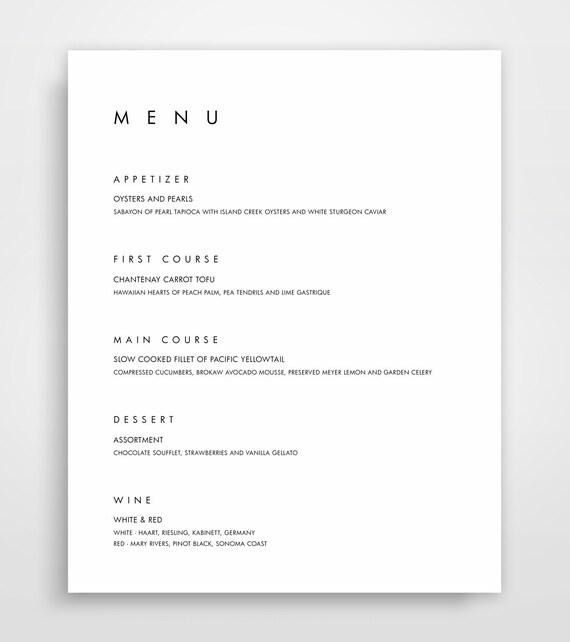 menu wedding menu template bar menu menu template editable etsy