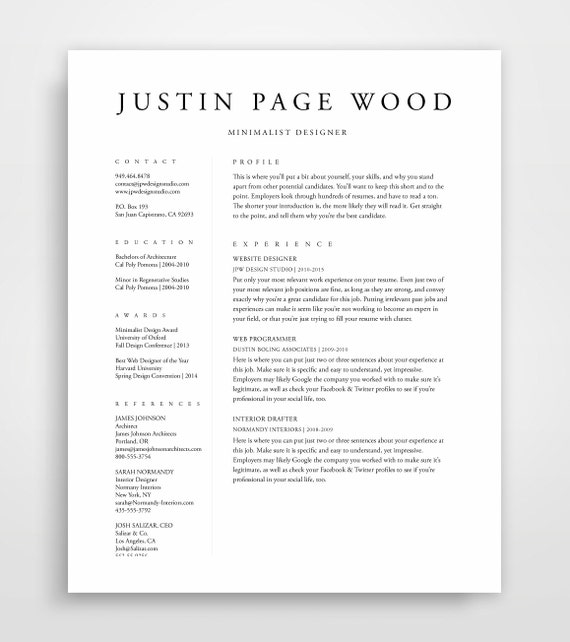 Resume Template Resume Professional Resume Template CV